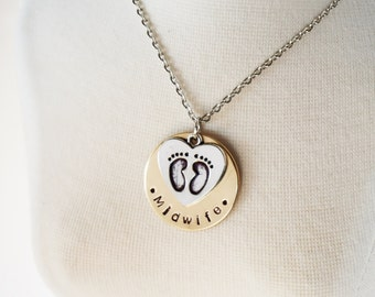Midwife Gift Necklace - Hand Stamped Brass Disk - Choice of Chain - Heart Feet Charm