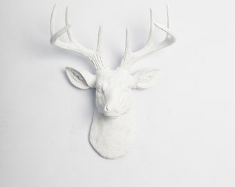 White Faux Taxidermy Original Faux Deer Head Wall Mount- The MINI Templeton - White Resin Deer Head- Mounted Stag & Antlers Faux Animal Head