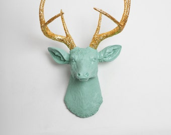 Faux Deer Head - The Arnie - Seafoam Green W/ Gold Glitter Antlers Resin Deer Head- Stag Resin White Faux Taxidermy