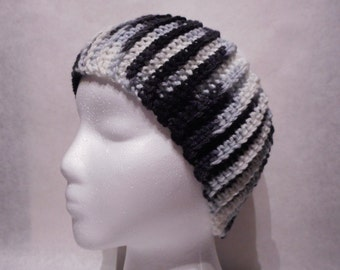 Crochet Ribbed Headband -Zebra, Black and White- Ear Warmer, Head Wrap, Boho Chic, Fall and Winter Accessory, Teen, Adult, Women