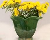 Vintage McCoy Vase Green Tulip garden club Ceramic 309 isa mid century modern pottery hunter sage flower centerpiece