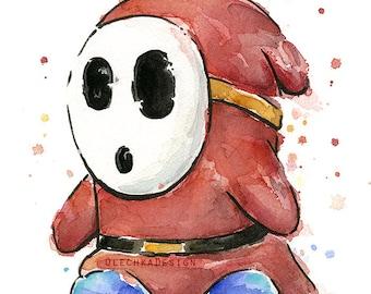 Shy Guy Watercolor Art Print Mario Nintendo Art Geek Videogame Nintendo Print Poster ShyGuy Mario Decor Geek Painting Videogame Fan Art