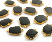 Natural Black Onyx Connector, Gold Electroplated Edge connector with Double Bail,15 X 17 mm,1 Piece(BZC9030/BLK/CNT)