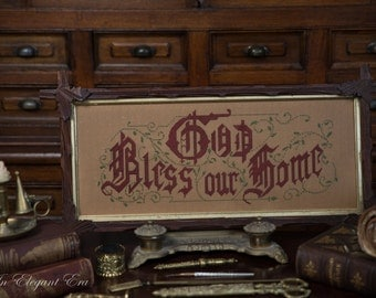Available Now-  God Bless our Home Reproduction Victorian Motto Paper Punched Motto