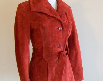 Ladies Vintage Rust Colored Suede Jacket Hippie Southwest Late 1970s