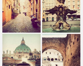 Set of 4 Rome photographs, print set, 8x10, Italian art, Rome decor, Rome photography, Italy pictures