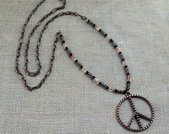 Copper Peace Sign Boho Chic Long Beaded Necklace FREE Shipping Hippie Bohemian Layering Black Beads Fashion Jewelry Paisley Beading