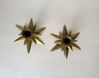 Vintage Brass Candle Holders Stars For Taper Candles, Pair