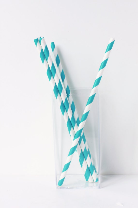 Teal blue striped retro paper straws 25 teal striped paper straws