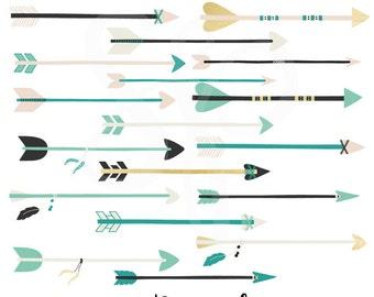 Arrows Clip Art Graphics, Gold, Teal & Mint