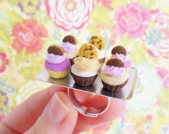Mini Tray of Cupcakes Ring with Chocolate Chip Cookies and Peanut Butter Cups Bakery Food Jewlery