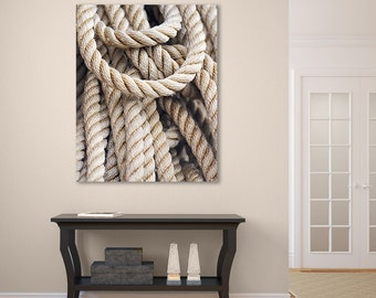 Nautical Rope Photograph, Large Canvas Wall Art, Coastal Beach Decor, Beige Brown Black, Oversized Artwork, Boating Fishing Sailing Art