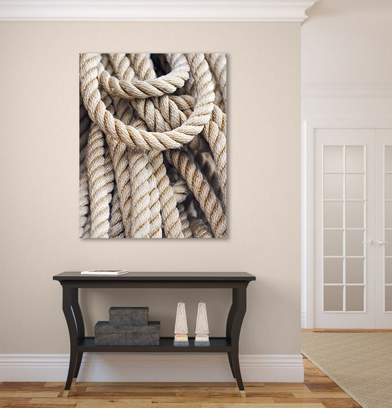 Nautical rope photograph large canvas wall art coastal beach for Large nautical rope
