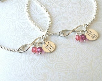 Infinity Sisters-Big Sis Lil Sis Bracelet Set with Birthstones in Sterling Silver --Gift for Sister-Matching Sister Bracelets