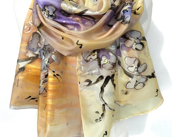 Floral Hand Painted Silk Scarf. Romantic Scarf. Silk Painting. Anniversary Birthday Gift for Her. Genuine Art on Silk. 18x71in MADE to ORDER