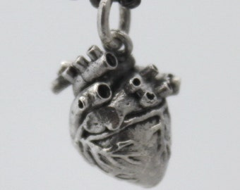 Solid Sterling Silver Real Heart Charm on ball chain, 3D Anatomical Heart pendant, Statement necklace, Goth Punk Jewelry, Halloween, Unisex