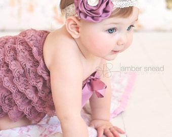 Boutique Lace baby Headband, Newborn headband, baby hair bow, Newborn photo prop, hair accessories. Infant Headbands, Flower Girl
