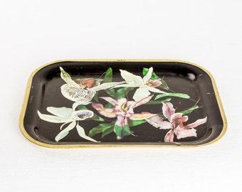 Vintage Flower Plate / Black Gold White Narcissus Plate / Retro Mid Century Plate / Light / Saturnus Yugoslavia