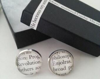 Les Miserables Enjolras Book Page Stud Earrings