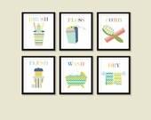 Bathroom Art Prints, Baby Bathroom Art, Bathroom Rules, Wash, Flush, Assorted Prints, Kids Bathroom, Green, Blue, Yellow, Art For Kids