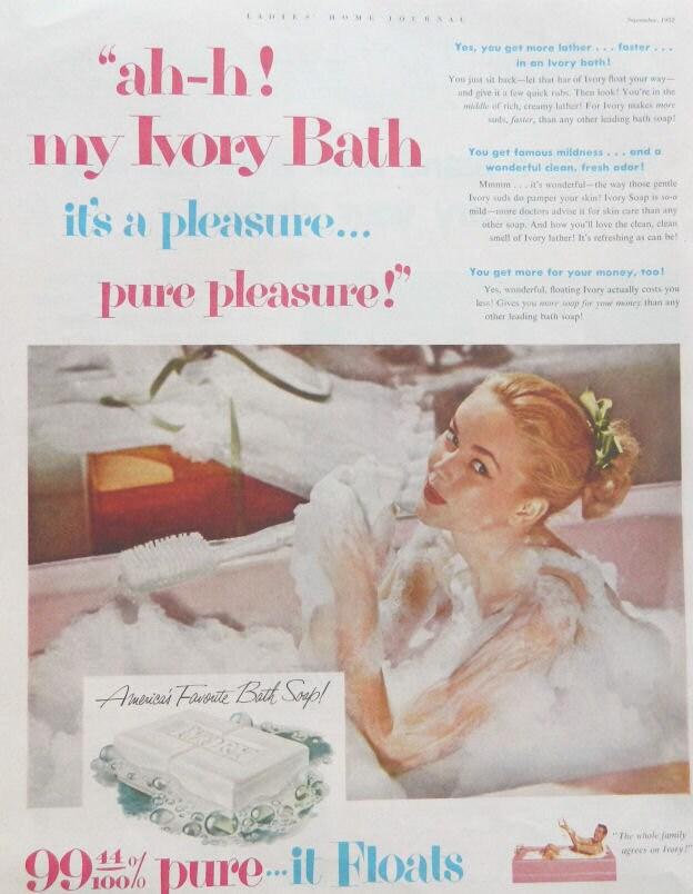 Ivory soap ad 1950 era vintage bathroom or bedroom decor for Bathroom accessories ads