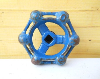 blue faucet handle knobs industrial hardware salvaged metal pulls made to order