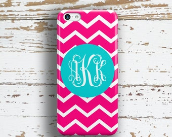 Gift for girl friend, Monogram Iphone 5 case, Chevron Iphone 4s case, Pink and white chevron with blue (9695)