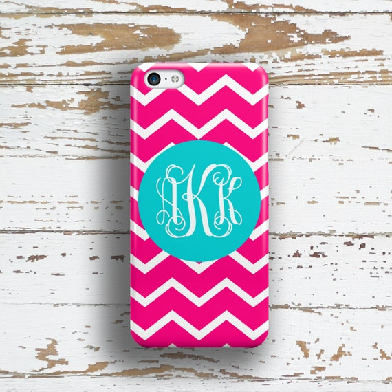 Personalized Bridesmaid gifts, Pink Iphone 6 case, Monogram Iphone 5 case, Chevron iPhone 5c case, Pretty Iphone 4s case, Pink blue (9695P)