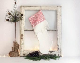 Vintage Damask Christmas Stocking, White and Red Christmas Stocking, Cottage Christmas Stocking, Linen Stocking
