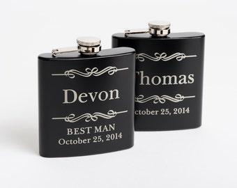 5, Engraved Groomsmen Gift, Personalized Flasks, Black Stainless Steel Flasks, 5 Flasks