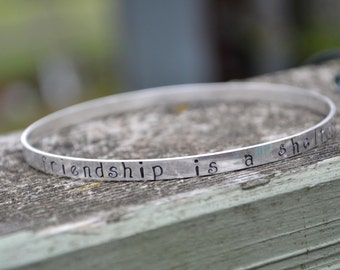 Sterling Silver Bangle Hand Stamped 5mm