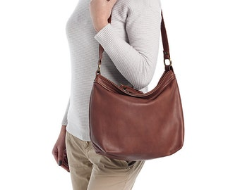 Brown leather bag  - Brown hobo purse - Leather hobo bag - Slouchy leather bag -MEDIUM HELEN