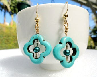 SOLD. Quatrefoil Turquoise Dangle Earrings, Gold Dangle Earrings, Simple Drop Earrings, Everyday Small Gold Earrings, One of a Kind