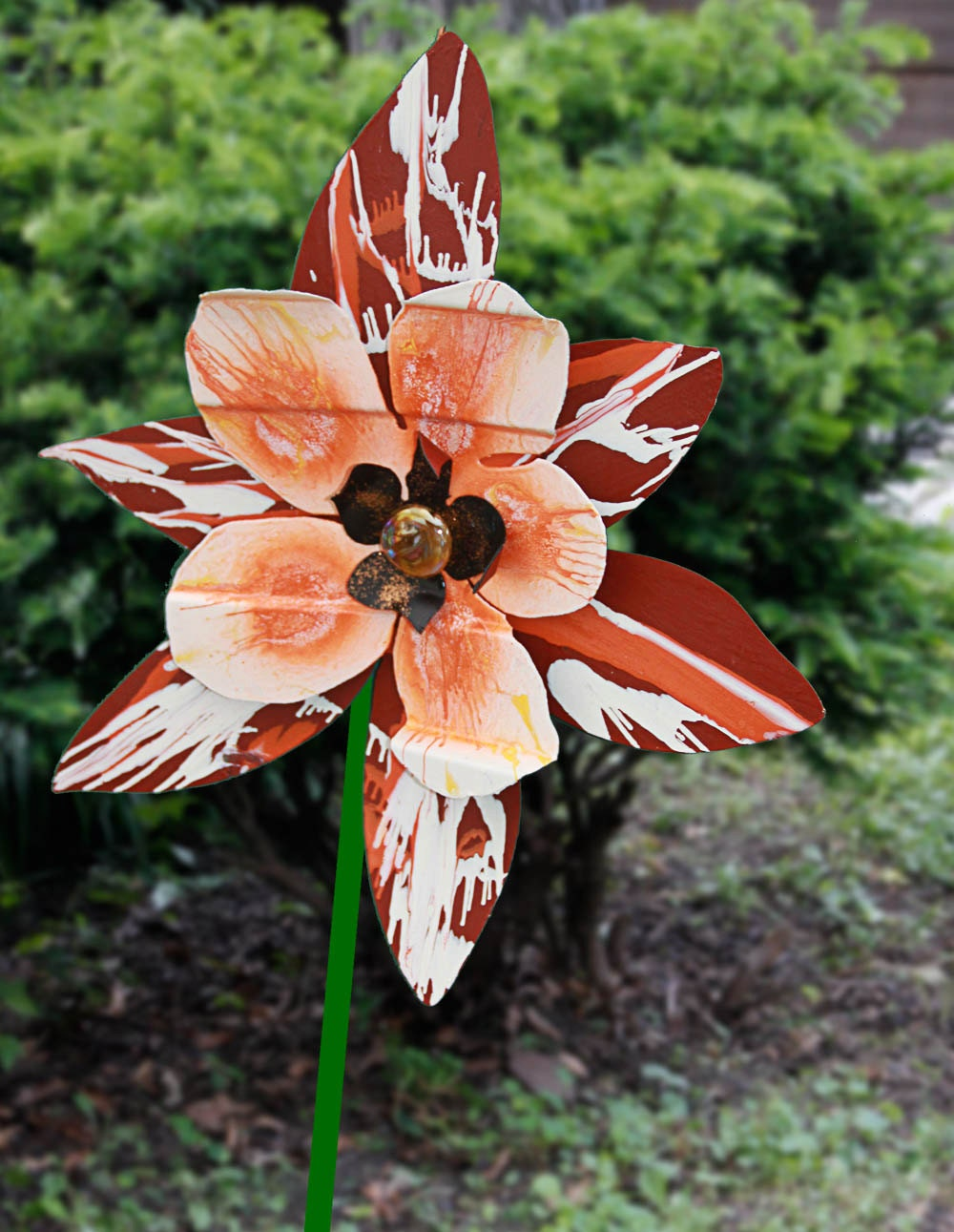 salvaged recycled metal flower sculpture use as yard art