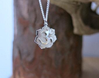 Ohm Necklace, Aum necklace, Om pendant, Om Lotus