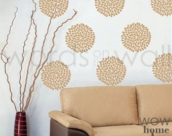 Vinyl Wall Decal Art - Rain Drop Flower wall pattern. Wall paper substitute. Choose your size
