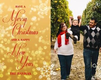 Custom Photo Christmas Card -Bokeh and Snowflakes