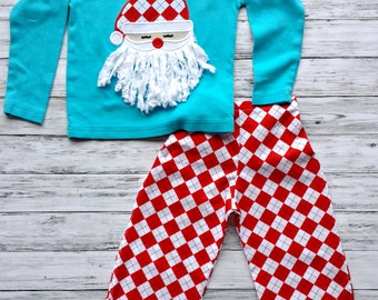 Boys Santa Christmas Outfit Argyle Pants Set