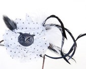 Steampunk Owl and Polka Dot Print,  Black White Flowers and Black White Feathers Hair Accessory, Steampunk Fascinator, Owl Fascinator #202