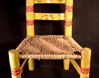 """Doll Chair Wood Rustic Rush Seat Hand Crafted Wooden 16"""""""