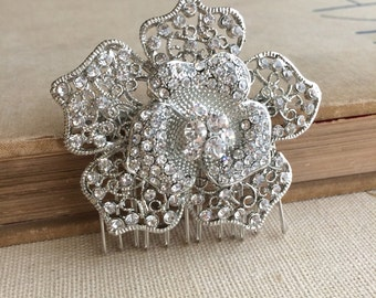 Bridal flower comb, SALE,wedding flower comb,hair flower comb,bridal hair flower comb, garden wedding, silver, crystal rhinestone WIRED