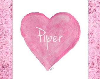 Bubblegum Pink Heart Art, Girl's Room Decor, Kids Personalized Art, 8x10 Watercolor Heart Art, Hot Pink Room Decor, Girls Pink Wall Decor