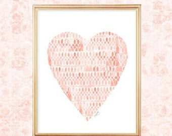 Coral Heart, Coral Baby Nursery, Watercolor Heart, Coral Nursery Art, Peach Nursery Decor, Nursery Print, Coral Baby Shower, New Baby Gift