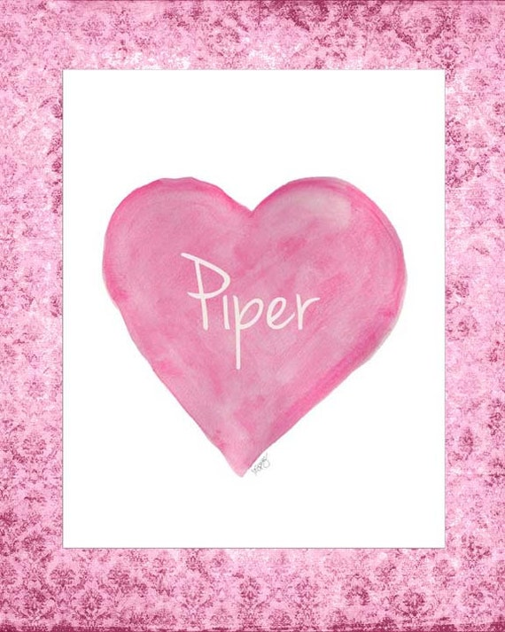 Bubblegum Pink Heart Print for Girl's Room, 8x10 Personalized