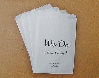 Custom 'We Do' Wedding Glassine Bags