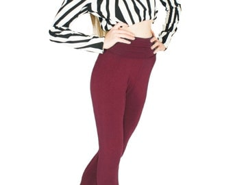 Burgundy Leggings Bamboo Yoga Pants in Wine