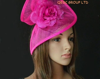 Hot pink special shape sinamay fascinator formal hat with silk flower,party/wedding/races/Kentucky derby