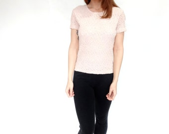 lovely opaque lace short sleeve 80's vintage t shirt top - small - medium