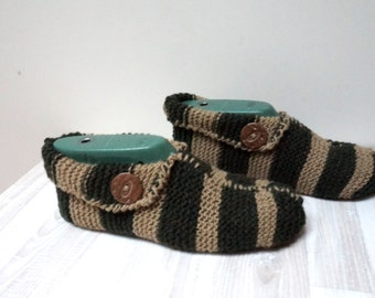 Slippers Socks hand knitted Leg warmer brown green stripe size 6 7 8 9 handmade stretchable ready to ship Wool large woman children girl