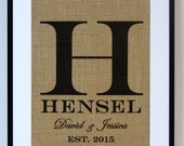 Personalized Burlap Print. Great for wedding gift, engagement gift, anniversary gift!